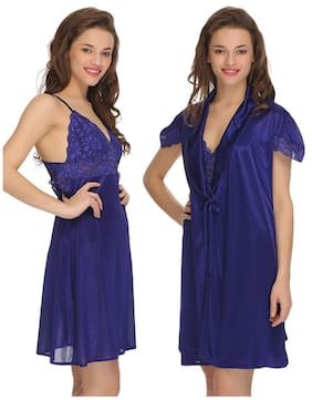 Clovia Satin Nighty With Robe Solid Nightwear Blue - (Pack of 2 ) a3ae190d3