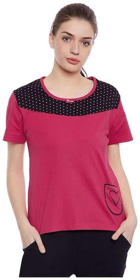 Clovia Women Printed Round neck Tank top - Pink