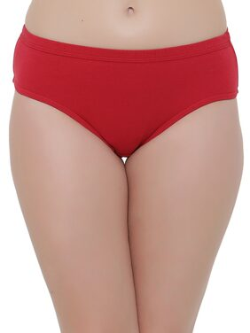 Clovia Cotton Mid Waist Hipster Panty with Inner Elastic (PN2508P04_Red_XL)
