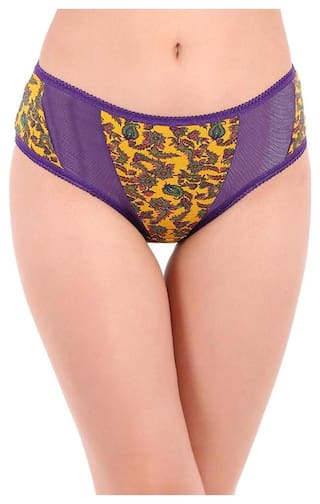 ceee9cba6a2c Clovia Cotton Mid Waist Printed Hipster Panty with Powernet Panels  (PN2674P02_Yellow_S)