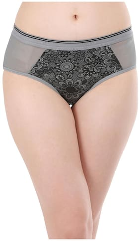 Clovia Cotton Mid Waist Floral Print Hipster Panty With Powernet Wings