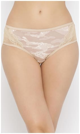 Clovia Cotton Mid Waist Printed Hipster Panty with Lace Wings Beige