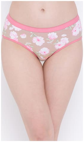 Clovia Cotton Mid Waist Floral Print Hipster Panty