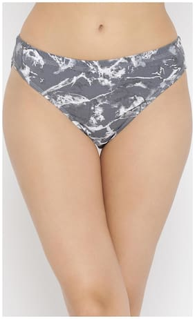 Clovia Cotton Mid Waist Printed Hipster Panty with Inner Elastic Grey