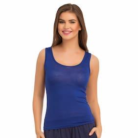 Clovia Cotton Solid Blue Color Camisole