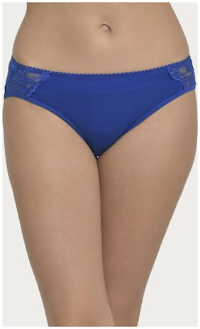 Clovia Cotton Mid Waist Hipster Panty With Lace Panels