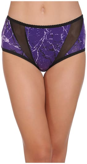 Clovia Mid Waist Printed Hipster with Powernet Panels