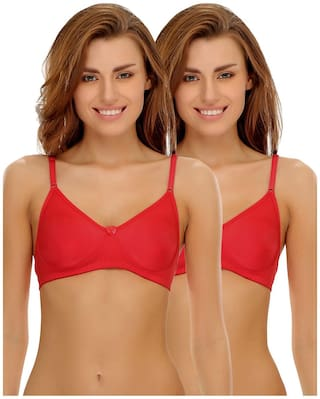 Clovia Pack of 2 Cotton Rich Non-Padded Wirefree T-shirt Bra in Red