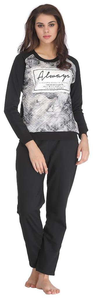 9d6acd67f1c Buy Clovia Printed Winter Wear Top   Pyjama Set - Dark Grey Online ...