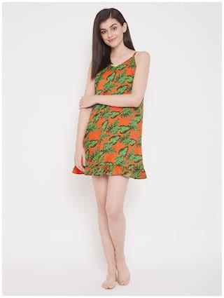 Clovia Satin Orange Printed  BabyDolls For Women