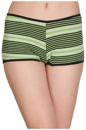 Clovia Women's Cotton Mid Waist Striped Boyshorts (PN2290P11_Green_Small)