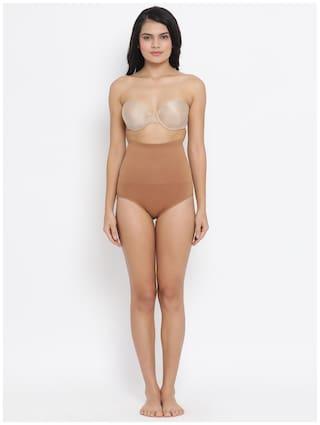 Clovia Women Nylon Tummy tucker panty - Beige
