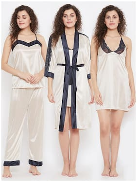 Women Solid Nightdress ,Pack Of 4