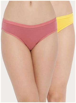 Clovia Women Cotton Low waist Panty Pink and Yellow color