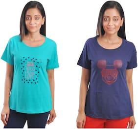 CLUB A9 Women Multi Regular fit Round neck Cotton T shirt