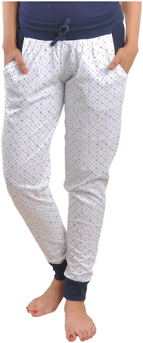 CLUB A9 Women Cotton Printed Pyjama - White
