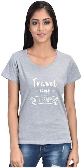 CLUB A9 Women Grey Regular fit Round neck Cotton T shirt