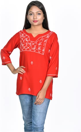 Club Fashion Women Embroidered Regular top - Red