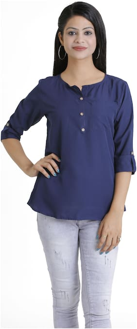 Club Fashion Women Solid Regular top - Blue