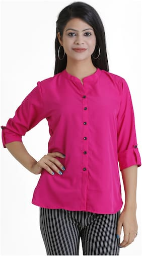 Club Fashion Women Crepe Solid - Regular top Pink