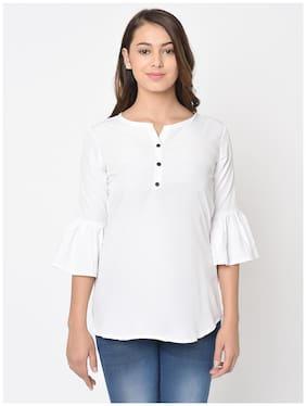 Club Fashion Women Solid Regular top - White