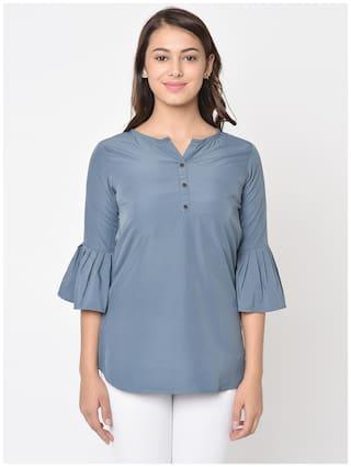 Club Fashion Women Solid Regular top - Grey