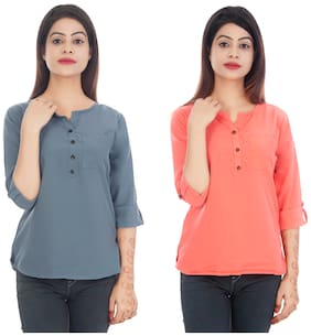 Club Fashion Women Solid Regular top - Grey & Peach