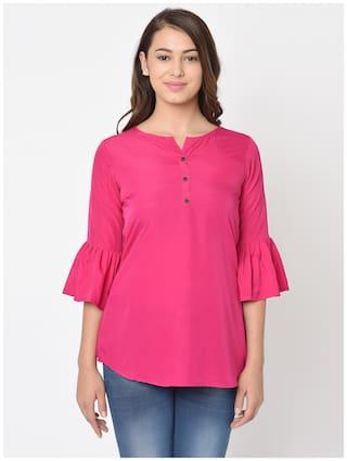 Club Fashion Women Solid Regular top - Pink