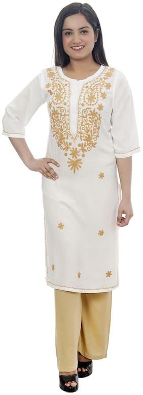 Club Fashion Viscose Rayon White Chikankari Kurti  For Women