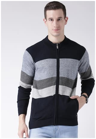Club York Men's Long Sleeves Turtle Neck Colourblocked Acrylic Sweaters