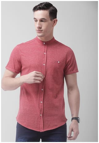CLUB YORK Men Red Solid Slim Fit Casual Shirt