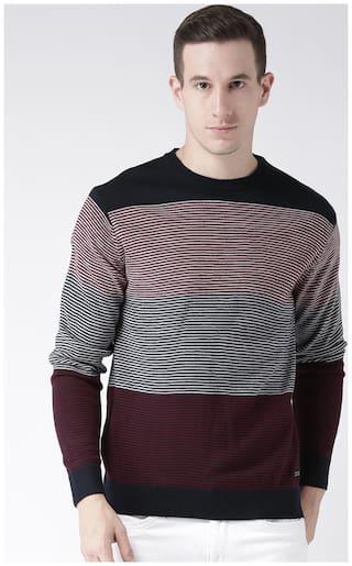 Club York Men's Long Sleeves Round Neck Colourblocked Striper Acrylic Sweaters