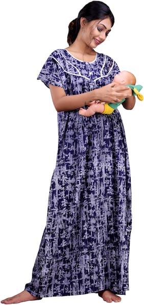 CLYMAA Women Maternity Gown - Blue Xl