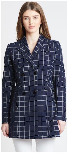 OKANE Women Checked Regular Fit Coat - Blue