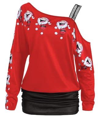shirt Santa Claus T Cold Print Laugh Shoulder 60wnq8