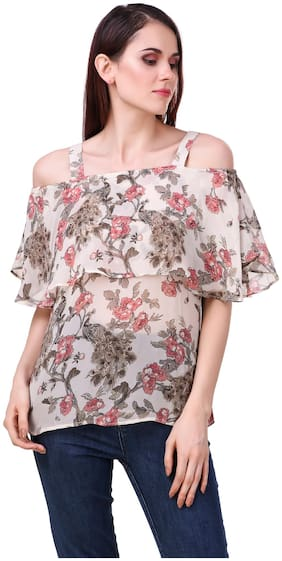 cold shoulder top with short sleeves