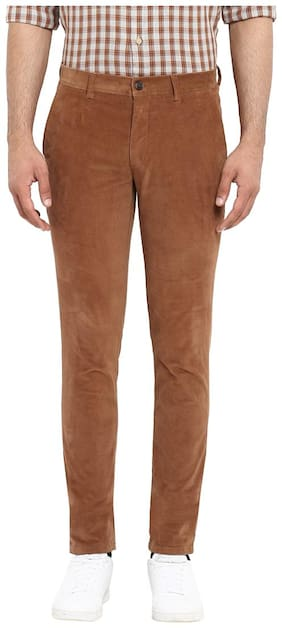 ColorPlus Brown Regular Fit Cotton Blend Casual Trouser
