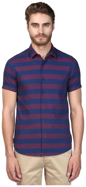 ColorPlus Dark Blue Contemporary Fit Cotton Blend Shirt