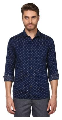 ColorPlus Navy Cotton Contemporary Fit Shirt