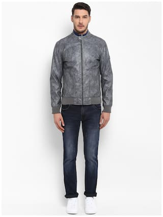 ColorPlus Men Grey Checked Leather jacket