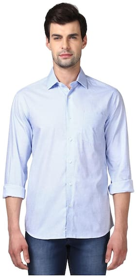 ColorPlus Printed Cotton Blue Slim Fit Cut Away Full Sleeve Shirts