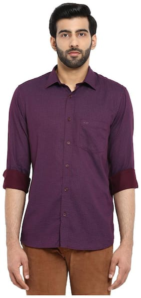 ColorPlus Purple Tailored Fit Cotton Casual Shirt