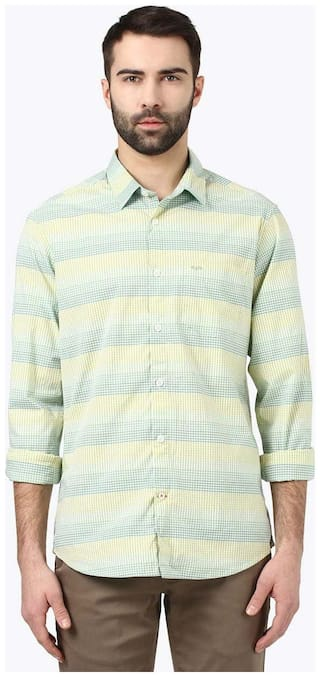 ColorPlus Men Yellow Checked Regular Fit Casual Shirt
