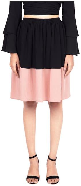 GIRAFFE & CO. Colorblocked Flared skirt Midi Skirt - Black & Pink