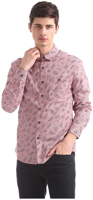 Colt Men Pink Typography Regular Fit Casual Shirt