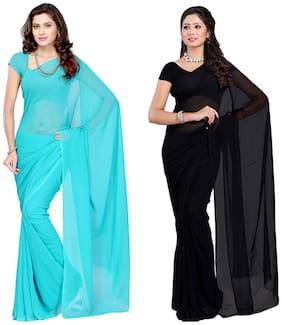 Combo of 2 Sarees - Medium turquoise & Black Georgette Casual Wear Dyed Saree With Unstitched Blouse - 60Com156_201 - RK Fashions