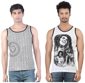 Combo of White Versace & Bob Marley Cotton Gym Vest
