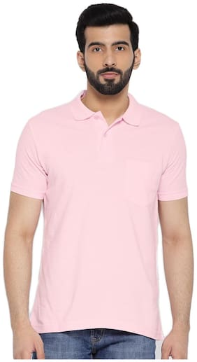 Concepts Men Slim fit Polo neck Solid T-Shirt - Pink
