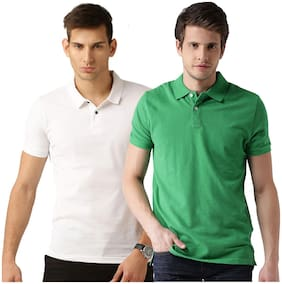 Men Polo Collar Solid T-Shirt Pack Of 2