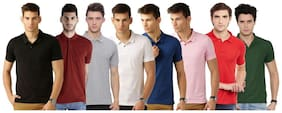 Men Polo Collar Solid T-Shirt Pack Of 8